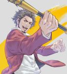 1boy :d afro barbed_wire baseball_bat black_hair brown_eyes buttons character_name collared_shirt commentary dress_shirt facial_hair fighting_stance forehead formal goatee holding holding_baseball_bat holding_weapon jacket kasuga_ichiban long_sleeves looking_at_viewer male_focus messy_hair open_clothes open_hand open_jacket open_mouth red_jacket red_suit ryuu_ga_gotoku ryuu_ga_gotoku_7 shirt short_hair sideburns smile solo suit talgi teeth two-tone_background upper_body v-shaped_eyebrows weapon white_background white_shirt yellow_background