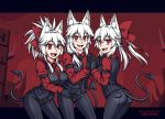 3girls :d alternate_eye_color alternate_hair_color animal_ear_fluff animal_ears bangs black_gloves black_neckwear black_pants burbur cerberus_(helltaker) cerberus_(helltaker)_(cosplay) commentary cosplay demon_tail english_commentary eyebrows_visible_through_hair fang fate/grand_order fate_(series) fox_ears gloves hair_between_eyes hair_ribbon hands_together helltaker long_hair long_sleeves multiple_girls necktie open_mouth pants ponytail red_eyes red_ribbon red_shirt ribbon shirt skin_fang smile tail tamamo_(fate)_(all) tamamo_no_mae_(fate) white_hair