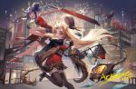 2girls :d animal_ears arknights bag bangs bare_arms bare_legs bare_shoulders black_headwear black_jacket black_legwear blue_hair building ch'en_(arknights) chi_xiao_(arknights) china_dress chinese_clothes commentary_request copyright_name dragon_horns dress drone eyebrows_visible_through_hair fang fireworks fur-trimmed_jacket fur_trim hair_bun handbag hat_feather high_heels highres holding holding_sword holding_weapon horns jacket juju_(jelly_fever) long_hair lungmen_dollar money multiple_girls night night_sky open_mouth outdoors red_dress red_eyes red_footwear sidelocks sky sleeveless sleeveless_dress smile swire_(arknights) sword tail thigh-highs thighs tiger_ears tiger_tail weapon zettai_ryouiki