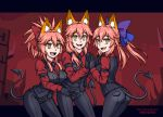 3girls :d animal_ear_fluff animal_ears bangs black_gloves black_neckwear black_pants blue_ribbon burbur cerberus_(helltaker) cerberus_(helltaker)_(cosplay) commentary cosplay demon_tail english_commentary eyebrows_visible_through_hair fang fate/grand_order fate_(series) fox_ears gloves hair_between_eyes hair_ribbon hands_together helltaker letterboxed long_hair long_sleeves multiple_girls necktie open_mouth pants pink_hair ponytail purple_ribbon red_ribbon red_shirt ribbon shirt skin_fang smile tail tamamo_(fate)_(all) tamamo_no_mae_(fate) yellow_eyes
