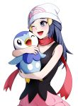 1girl ;d absurdres black_shirt blue_eyes blue_hair gen_4_pokemon hair_ornament hairclip hat highres hikari_(pokemon) holding holding_pokemon kokoko_taro long_hair one_eye_closed open_mouth pink_skirt piplup pokemon pokemon_(creature) pokemon_(game) pokemon_dppt print_headwear red_scarf scarf shirt simple_background skirt sleeveless sleeveless_shirt smile solo standing starter_pokemon tied_hair white_background white_headwear