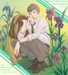 1boy belt brown_eyes brown_footwear brown_hair character_name copyright_name dated day flower fuffufufu_6_6 fugou_keiji_balance:unlimited full_body green_legwear grey_pants happy_birthday highres holding holding_clothes holding_jacket iris_(flower) jacket jacket_removed katou_haru looking_to_the_side male_focus on_rock outdoors pants shirt sitting socks solo watch watch white_shirt