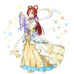 1girl bangs closed_mouth cosplay dress full_body highres kaguya_hime kaguya_hime_(cosplay) long_dress long_hair long_sleeves official_art red_eyes redhead sash shiny shiny_hair smile solo standing sword_art_online sword_art_online:_memory_defrag tanabata tied_hair tiese_schtrinen transparent_background very_long_hair wide_sleeves yellow_dress