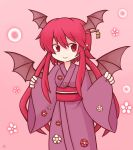 1girl 216 :> alternate_hair_length alternate_hairstyle bat_wings blush chibi commentary_request cowboy_shot danmaku eyebrows_visible_through_hair floral_print hair_between_eyes hair_ornament hair_stick head_wings japanese_clothes kanzashi kimono koakuma long_hair long_sleeves looking_at_viewer no_nose pink_background pointy_ears red_eyes redhead short_hair short_hair_with_long_locks sidelocks simple_background sleeves_past_wrists smile solo touhou touhou_cannonball very_long_hair wide_sleeves wings yukata