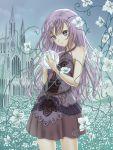 1girl bare_shoulders brown_skirt crystal_ball facing_viewer field flower flower_field halterneck kyuui original outdoors overcast purple_hair skirt solo standing violet_eyes