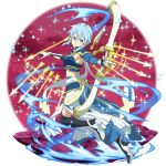 1girl armpits arrow_(projectile) asymmetrical_sleeves bangs black_footwear blue_eyes blue_hair blue_sleeves boots bow_(weapon) breastplate detached_sleeves faulds full_body gloves hair_between_eyes highres holding holding_bow_(weapon) holding_weapon long_skirt long_sleeves looking_at_viewer official_art shiny shiny_hair sidelocks sinon_(solus) skirt solo sword_art_online sword_art_online:_memory_defrag thigh-highs thigh_boots weapon white_gloves