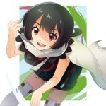 1girl black_hair breasts cape cloak higana_(pokemon) highres looking_at_viewer open_mouth pokemon pokemon_(game) pokemon_oras red_eyes sakura_yayoi short_hair short_ponytail smile solo thigh-highs
