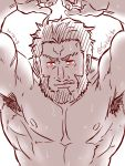 1boy abs armpit_hair arms_up bara beard blush chest excited facial_hair fate/grand_order fate/zero fate_(series) greyscale highres iskandar_(fate) licking_lips looking_at_viewer male_focus manly monochrome muscle nipples pectorals pov sexually_suggestive solo suzuki80 sweatdrop tongue tongue_out