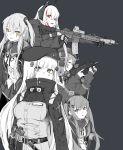 5girls alma01 assault_rifle belt_pouch breasts c-clamp commentary_request girls_frontline gloves greyscale gun h&k_mp7 headphones heckler_&_koch highres hk416_(girls_frontline) holstered_weapon jacket long_hair m4_carbine m4_sopmod_ii m4_sopmod_ii_(girls_frontline) magazine_(weapon) monochrome mp7_(girls_frontline) multiple_girls open_mouth partial_commentary pouch red_eyes rifle scar scar_across_eye simple_background submachine_gun tactical_clothes trigger_discipline ump45_(girls_frontline) ump9_(girls_frontline) weapon
