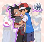 2boys antenna_hair artist_name bangs baseball_cap black_hair black_shorts blue_eyes blush brown_eyes closed_mouth commentary english_commentary gou_(pokemon) hair_ornament hairclip hat heart hug looking_at_another looking_at_viewer looking_to_the_side male_focus multiple_boys pokemon pokemon_(anime) pokemon_swsh_(anime) pout sara_bonetti satoshi_(pokemon) short_sleeves shorts spoken_heart v-shaped_eyebrows yaoi