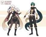 1boy 1girl adapted_costume belt black_gloves black_legwear boots bracelet dakiarts dress elbow_gloves fingerless_gloves fire_emblem fire_emblem:_three_houses garreg_mach_monastery_uniform gloves green_hair hair_ribbon jewelry long_hair long_sleeves micaiah_(fire_emblem) orange_eyes pantyhose ribbon scarf sheath side_slit signature silver_hair sleeveless sleeveless_dress sothe_(fire_emblem) sword weapon yellow_eyes yellow_scarf