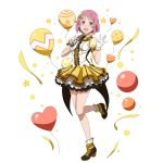 1girl :d bow breasts brown_footwear dress_shirt full_body gloves hair_bow heart_balloon highres holding holding_microphone idol layered_skirt lisbeth looking_at_viewer medium_breasts microphone miniskirt open_mouth pink_eyes pink_hair shiny shiny_hair shirt short_hair short_sleeves skirt smile solo standing standing_on_one_leg sword_art_online transparent_background white_gloves white_shirt yellow_bow yellow_skirt yellow_sleeves