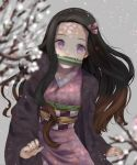 1girl black_hair blurry_foreground brown_hair fingernails flower gradient_hair hair_ribbon haori highres japanese_clothes kamado_nezuko kimetsu_no_yaiba kimono long_hair long_sleeves looking_at_viewer multicolored_hair pink_eyes pink_kimono pink_ribbon print_kimono ribbon sharp_fingernails solo touhou3939 very_long_hair white_flower