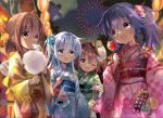4girls akatsuki_(kantai_collection) bag bagged_fish bangs blue_eyes blush bokukawauso brown_eyes brown_hair candy_apple coin_purse commentary_request cotton_candy eating enemy_lifebuoy_(kantai_collection) fang festival fireworks fish flower folded_ponytail food hair_flower hair_ornament handbag hibiki_(kantai_collection) highres hizuki_yayoi holding holding_food ikazuchi_(kantai_collection) inazuma_(kantai_collection) japanese_clothes kantai_collection kimono kinchaku long_hair long_sleeves mask mask_on_head multiple_girls night obi one_eye_closed open_mouth outdoors pinwheel ponytail pouch purple_hair sash short_hair silver_hair skin_fang smile summer_festival violet_eyes water_balloon wide_sleeves yukata