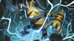 commentary_request electabuzz electricity fang gen_1_pokemon glowing glowing_eyes hands_up highres no_humans open_mouth pokemon pokemon_(creature) rock solo standing supearibu watermark