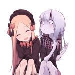 2girls abigail_williams_(fate/grand_order) bags_under_eyes bangs black_bow black_dress black_headwear blonde_hair blue_eyes blush bow breasts closed_eyes closed_mouth daisi_gi dress fate/grand_order fate_(series) forehead hair_between_eyes hair_bow hair_ornament highres horns laughing lavinia_whateley_(fate/grand_order) long_hair long_sleeves looking_at_another multiple_bows multiple_girls multiple_hair_bows open_mouth orange_bow pale_skin parted_bangs polka_dot polka_dot_bow simple_background single_horn sleeves_past_fingers sleeves_past_wrists small_breasts smile very_long_hair violet_eyes white_background white_bloomers
