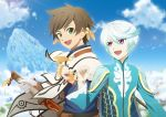 2boys :d asymmetrical_gloves bangs blue_shirt blue_sky brown_hair cape clouds day earrings fingerless_gloves fuzuki_yuu gloves green_eyes hair_between_eyes holding holding_sword holding_weapon jewelry male_focus mikleo_(tales) multiple_boys open_mouth orange_feathers outdoors shiny shiny_hair shirt signature silver_hair sky smile sorey_(tales) standing sword tales_of_(series) tales_of_zestiria upper_body violet_eyes weapon white_cape white_gloves