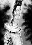 1boy aoki_masahiko black_hair grin haoumaru highres katana reflection samurai_spirits scar smile sword toothpick veins weapon