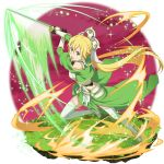 1girl bangs blonde_hair boots faux_figurine floating_hair garter_straps gloves green_eyes green_gloves green_skirt hair_between_eyes highres holding holding_sword holding_weapon leafa leafa_(terraria) long_hair looking_at_viewer official_art open_mouth running shiny shiny_hair skirt solo sword sword_art_online sword_art_online:_memory_defrag thigh-highs thigh_boots transparent_background very_long_hair weapon white_footwear
