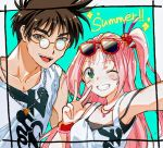 1boy 1girl bracelet brown_eyes brown_hair commentary english_text eyewear_on_head glasses green_eyes jewelry long_hair looking_at_viewer looking_to_the_side macross macross_7 mio_(matcha) mylene_jenius necklace nekki_basara one_eye_closed pink_hair side_ponytail summer sunglasses thick_eyebrows v