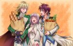 1girl 2boys :d asbel_lhant bag baguette bottle bread closed_eyes coat dress elbow_gloves food gloves green_coat grocery_bag highres holding holding_arm long_hair long_sleeves multiple_boys open_clothes open_coat open_mouth orange_background pants pepper purple_gloves purple_hair red_apple redhead richard_(tales) shopping_bag sideways_mouth smile sophie_(tales) tales_of_(series) tales_of_graces upper_teeth usagi_nagomu violet_eyes white_dress white_pants wine_bottle