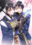 2boys absurdres black_gloves black_hair black_pants blue_eyes blurry blurry_background cherry_blossoms coat dual_persona gloves glowstick hairband highres japanese_clothes kariginu male_focus mikazuki_munechika multiple_boys musical_touken_ranbu open_mouth oriental_umbrella pants petals shibaken smile tassel touken_ranbu umbrella