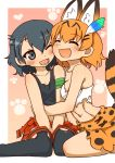 2girls 370ml :3 :d ;d animal_ears bandaged_arm bandages bangs black_eyes black_hair black_legwear black_shirt blonde_hair breasts closed_eyes clothes_around_waist commentary_request dress eyebrows_visible_through_hair fang feathers hair_feathers happy hug kaban_(kemono_friends) kemono_friends leaning_forward looking_at_another medium_breasts miniskirt multiple_girls navel no_hat no_headwear one_eye_closed open_mouth outside_border pantyhose paw_print red_shirt serval_(kemono_friends) serval_ears serval_print serval_tail shirt shirt_around_waist short_hair shorts sitting skirt smile striped_tail tail tank_top torn_clothes torn_legwear torn_shirt wariza white_shirt yellow_dress yuri