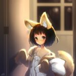 1girl animal_ears black_hair blurry blurry_background brown_eyes cat door fox_ears fox_tail holding holding_pillow igni_masayoshi indoors original pajamas paws pillow short_hair solo standing tail watermark