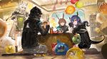 1boy 3girls absurdres alchemaniac amiya_(arknights) animal_ear_fluff animal_ears arknights balloon bangs bare_shoulders black_jacket blue_eyes blue_hair blush breasts brown_hair cat_ears cellphone ch'en_(arknights) choker doctor_(arknights) dragon_horns dragon_tail dress food gloves grani_(arknights) green_dress green_eyes hair_between_eyes highres holding holding_food holding_pen holding_phone hood hooded_jacket horns indoors jacket jessica_(arknights) jewelry kal'tsit_(arknights) long_hair long_sleeves looking_at_viewer medium_breasts multiple_girls official_art open_clothes open_jacket open_mouth pen phone ponytail rabbit_ears red_eyes ring seiza shirt short_hair shorts sidelocks silver_hair sitting skadi_(arknights) sleeveless smartphone smile sweatdrop swire_(arknights) tail thighs