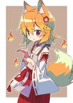 1girl animal_ear_fluff animal_ears brown_background brown_eyes commentary_request cowboy_shot eyebrows_visible_through_hair flower fox_ears fox_girl fox_tail hair_flower hair_ornament highres hitodama japanese_clothes long_sleeves looking_at_viewer miko orange_hair ribbon-trimmed_sleeves ribbon_trim roku_no_hito senko_(sewayaki_kitsune_no_senko-san) sewayaki_kitsune_no_senko-san short_hair smile solo tail two-tone_background white_background wide_sleeves