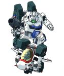 aircraft airplane chibi choujikuu_yousai_macross clenched_hand faceless fighter_jet flying gun holding holding_gun holding_weapon jet looking_down macross mecha military military_vehicle moukin_punch variable_fighter vf-1 weapon white_background