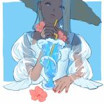 1girl blue_background blue_eyes cup dark_skin drinking_straw flower hat highres holding_drinking_straw looking_at_viewer mu_mashu original parted_lips pink_flower red_nails see-through_sleeves solo sparkle upper_body waves