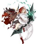 1girl :d arrow_(projectile) asymmetrical_legwear blonde_hair boots bow_(weapon) cloak cross-laced_footwear eyepatch frills full_body gloves hood hooded_cloak ji_no long_hair looking_at_viewer official_art open_mouth orange_eyes single_glove single_thighhigh sinoalice smile solo thigh-highs torn_cloak torn_clothes transparent_background upper_teeth weapon white_gloves