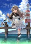 1girl anbiya_h bird brown_eyes character_request clouds copyright_request day dock dress highres light_brown_hair lighthouse long_hair looking_at_viewer ocean outdoors sandals seagull sky smile solo summer sundress water white_dress