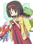 >_< 1girl :d black_eyes black_hair commentary_request erika_(pokemon) gen_1_pokemon gym_leader hakama headband highres japanese_clothes kimono long_sleeves looking_at_viewer open_mouth poke_ball poke_ball_print pokemon pokemon_(creature) red_hakama red_headband roku_no_hito short_hair smile triangle_mouth victreebel vileplume wide_sleeves