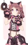 1girl animal_ears brown_hair cat_ears cat_tail character_request doughnut earrings eyebrows_visible_through_hair food gloves gradient gradient_background hands_up highres idolmaster jewelry long_hair midriff navel paw_gloves paws pink_background pink_eyes shirt shone shorts simple_background sleeveless sleeveless_shirt smile solo suspender_shorts suspenders tail twintails