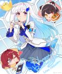 3girls :3 :d akym ange_katrina animal_ears armband bird black_hair blue_eyes blue_hair blue_legwear blue_skirt blue_sky cellphone clouds cloudy_sky controller day discord dog_ears flower fruit_tart game_controller hair_flower hair_ornament happy_birthday heterochromia highres inui_toko lize_helesta long_hair long_sleeves maid_headdress monocle multicolored_hair multiple_girls nijisanji o3o one_eye_closed open_mouth phone pleated_skirt red_eyes redhead safety_pin sebastian_piyodore short_hair skirt sky smile streaked_hair thigh-highs twitter_username violet_eyes white_hair yellow_eyes
