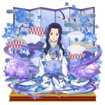 1girl blue_flower blue_ribbon bouquet brown_eyes closed_mouth fanatio_synthesis_two faux_figurine floral_print flower furisode hair_intakes hair_ornament hair_ribbon highres holding holding_bouquet japanese_clothes kimono kneeling looking_at_viewer print_kimono purple_hair purple_ribbon ribbon shiny shiny_hair short_hair_with_long_locks sidelocks smile solo sword_art_online sword_art_online:_memory_defrag white_kimono