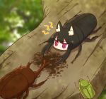 1girl animal animal_ear_fluff animal_ears animalization bangs beetle black_hair blurry blurry_background blush bug commentary_request depth_of_field eyebrows_visible_through_hair fox_ears highres insect kemomimi-chan_(naga_u) naga_u original red_eyes rhinoceros_beetle solo stag_beetle tree_branch v-shaped_eyebrows