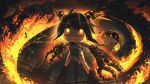 1girl ahoge bangs black_hair chain chibi clenched_teeth collar commentary cuffs dragon_girl english_commentary eyebrows_visible_through_hair fire from_above glowing glowing_eyes hair_between_eyes highres horns legs_apart long_hair looking_up metal_collar multicolored_hair orange_hair original paws porforever shackles sharp_teeth solo standing tail teeth two-tone_hair v-shaped_eyebrows yellow_eyes
