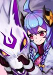 1girl absurdres ahoge alternate_costume alternate_eye_color alternate_hair_color alternate_hairstyle animal_ears blue_hair blush curled_horns fingerless_gloves flower fur gloves hair_between_eyes hair_flower hair_ornament highres horns japanese_clothes kindred lamb_(league_of_legends) league_of_legends long_hair petting pink_eyes purple_hair ribbon sheep_girl single_fingerless_glove smile spirit_blossom_kindred twintails user_wtdp7382 white_fur white_furj wolf wolf_(league_of_legends)