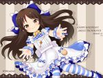 1girl apron bangs blue_bow blue_dress blush bow brown_eyes brown_hair character_name closed_mouth commentary_request dated dress eyebrows_visible_through_hair frilled_apron frilled_bow frills hair_bow happy_birthday idolmaster idolmaster_cinderella_girls long_hair looking_at_viewer maid_apron miicha pantyhose parted_bangs puffy_short_sleeves puffy_sleeves short_sleeves smile solo striped striped_background striped_legwear tachibana_arisu twitter_username vertical_stripes very_long_hair white_apron wrist_cuffs