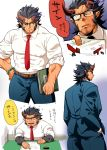 1boy alternate_costume bara beard black_hair chest chibi chibi_inset collage facial_hair fang formal glasses horns male_focus multiple_views muscle pectorals simple_background sugo6969 takemaru_(tokyo_houkago_summoners) thick_eyebrows thick_thighs thighs tokyo_houkago_summoners translation_request upper_body