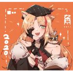 1girl animal_ears arknights beret bracelet fang fur_trim gloves green_eyes half_gloves hat highres jewelry kyou_039 long_hair mouse_on_head multicolored_hair off-shoulder_jacket one_eye_closed orange_background streaked_hair sunglasses swire_(arknights) tiger tiger_cub