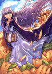 1girl absurdres belly_chain blue_dress book braid cape cloak commission dress expressionless fire_emblem fire_emblem:_the_binding_blade fire_emblem_cipher fire_emblem_heroes flower hair_blowing highres holding holding_book huge_filesize inkfy jewelry long_hair long_sleeves purple_hair shiny shiny_hair signature sky solo sophia_(fire_emblem) temple violet_eyes