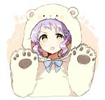 1girl animal_costume bangs bear_costume blue_neckwear blush bow bowtie hands_up idolmaster idolmaster_million_live! looking_at_viewer makabe_mizuki open_mouth paws purple_hair shiro_(m0c_0m) short_hair sketch solo yellow_eyes