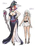 2girls arms_at_sides bikini black_bikini black_dress black_headwear blue_eyes bracelet breasts closed_mouth concept_art dark_skin dress fang fang_out green_eyes hand_on_hip hat height holding holding_staff horns jewelry lady_traff_(usagi_nagomu) large_breasts lilia_(usagi_nagomu) looking_at_viewer multiple_girls oni oni_horns orange_hair original pointy_ears sandals sash see-through_dress short_dress short_hair simple_background small_breasts smile staff standing swimsuit usagi_nagomu white_background white_dress white_hair witch_hat