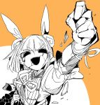 1girl arm_up armor armored_dress bangs blunt_bangs broken clenched_hand commentary_request crack double_bun hair_ribbon hollow_eyes joutouguu_mayumi ma_sakasama monochrome open_mouth puffy_short_sleeves puffy_sleeves ribbon shirt short_hair short_sleeves smile solo touhou upper_body vambraces white_ribbon yellow_background