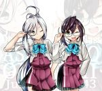 2girls ahoge asashimo_(kantai_collection) black_hair blazer blue-framed_eyewear bow bowtie commentary_request cowboy_shot glasses green_eyes grey_eyes hair_over_one_eye halterneck highres jacket kantai_collection long_hair looking_at_viewer multicolored_hair multiple_girls okinami_(kantai_collection) parted_lips pink_hair ponytail pose remodel_(kantai_collection) school_uniform short_hair silver_hair sleeves_rolled_up torikai_a underskirt zoom_layer