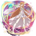1girl asuna_(stacia) bangs breastplate brown_eyes brown_hair cape detached_sleeves dress faux_figurine floating_hair full_body garter_straps gloves hair_between_eyes highres holding holding_sword holding_weapon long_hair long_sleeves official_art open_mouth pleated_dress shiny shiny_hair short_dress sleeveless sleeveless_dress solo sword sword_art_online sword_art_online:_memory_defrag thigh-highs transparent_background very_long_hair waist_cape weapon white_cape white_dress white_gloves white_legwear white_sleeves